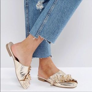 ASOS Ruffle Ballet Mule Flats in Gold